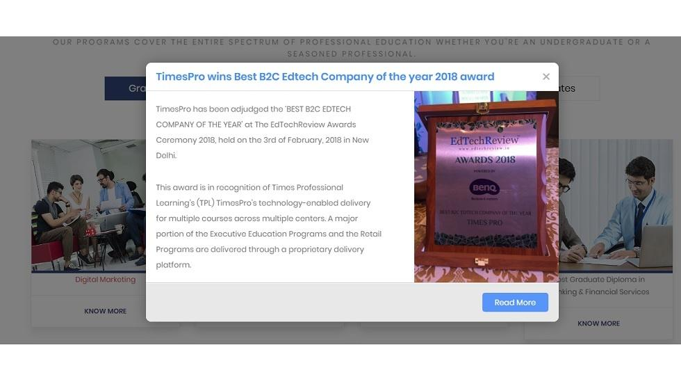 'TimesPro' Acknowledged for its Technology-Enabled Course Delivery