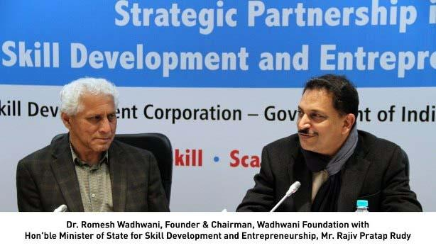 Strategic Partnership in Skill Development and Entrepreneurship Between Ministry of Skill Development and Entrepreneurship, Wadhwani Foundation, NSDC