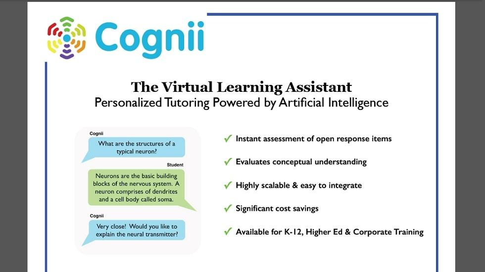 Cognii Launches Virtual Learning Assistant for the Education Market