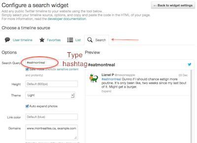 Figure 5: Selecting the Search option for your widget
