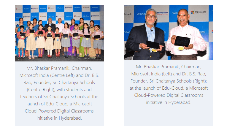 Sri Chaitanya Schools Adopts Microsoft India's Edu-Cloud for its Teachers and Students