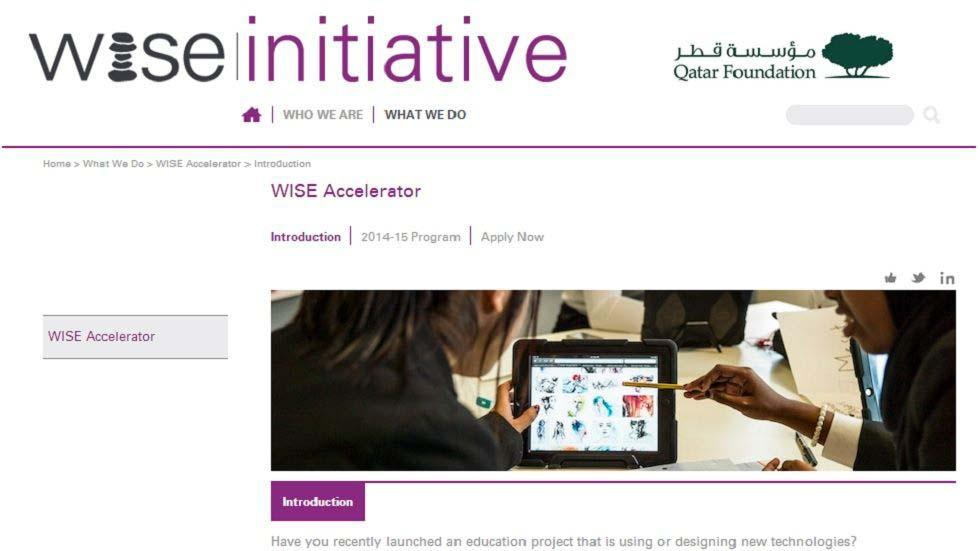 WISE Accelerator To Support Projects Addressing Educational Challenges Through the Use and/or Design of Technology